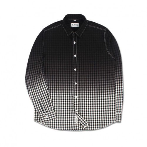 [MARCH WITH] GRADATION GINGHAM SHIRTS (BLACK)