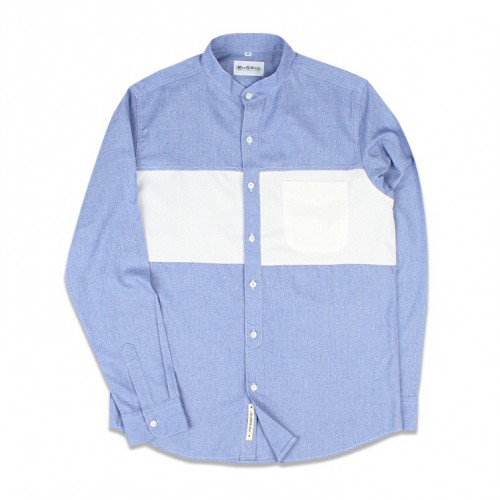 [MARCH WITH] BLOCK BAND COLLAR SHIRTS (SKY BLUE)