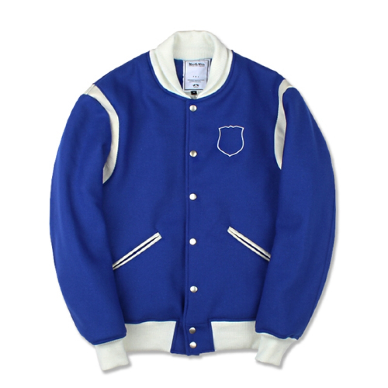 [MARCH WITH] CREST WOOL VARSITY JACKET BLUE