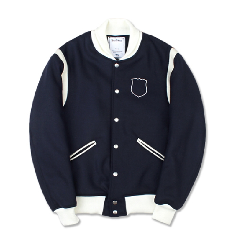 [MARCH WITH] CREST WOOL VARSITY JACKET NAVY