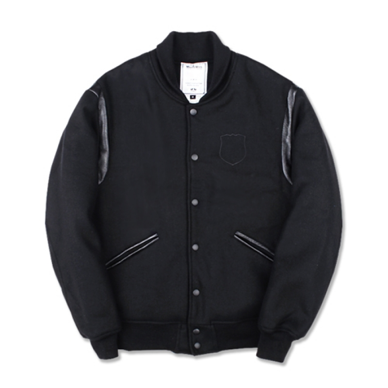 [MARCH WITH] CREST WOOL VARSITY JACKET BLACK