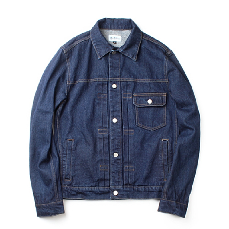 [MARCH WITH] WASHED DENIM JACKET DEEP BLUE