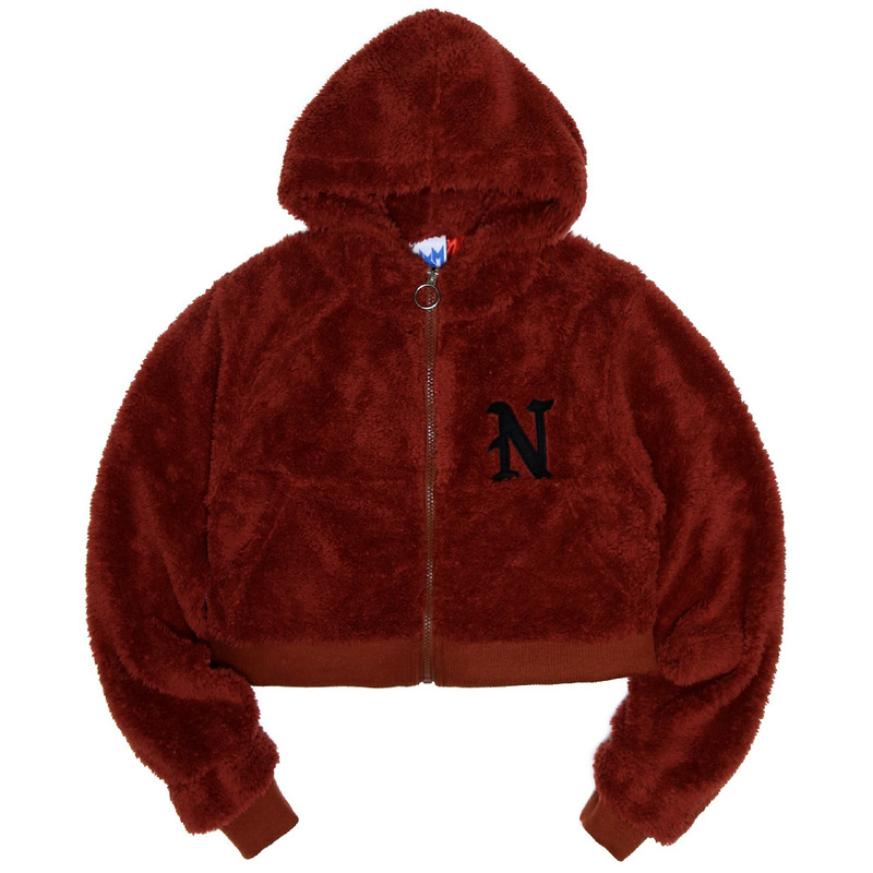 [NASTY PALM]  FRUFFY NASTY ZIPUP HOODY (BURGUNDY)