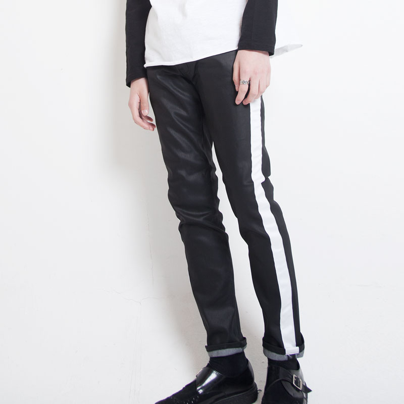 [ALLEYESONYOU] WHITE LINE COATED JEAN