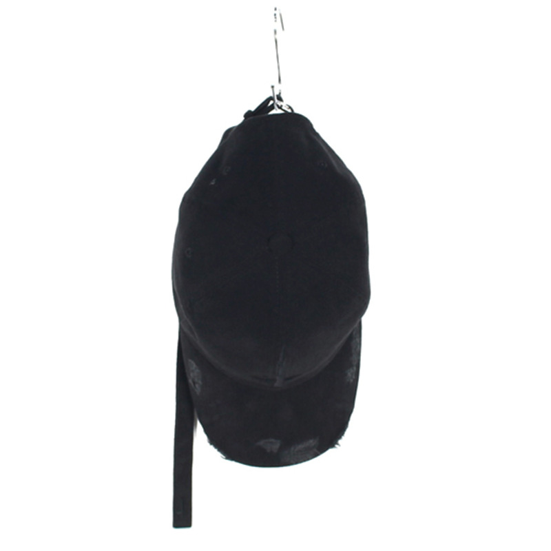 [SAINT SHOW] GARMENTS HAND MADE DESTROYED LONG STRAP CAP - BLACK