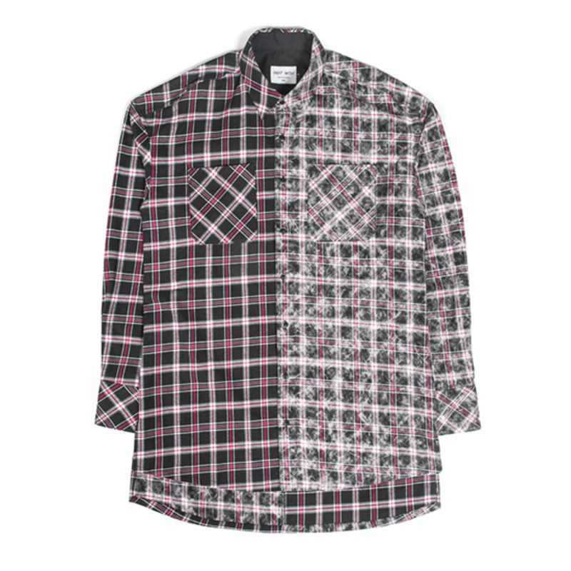 [SAINT SHOW] HALF FADED FLANNEL SHIRT - BLACK
