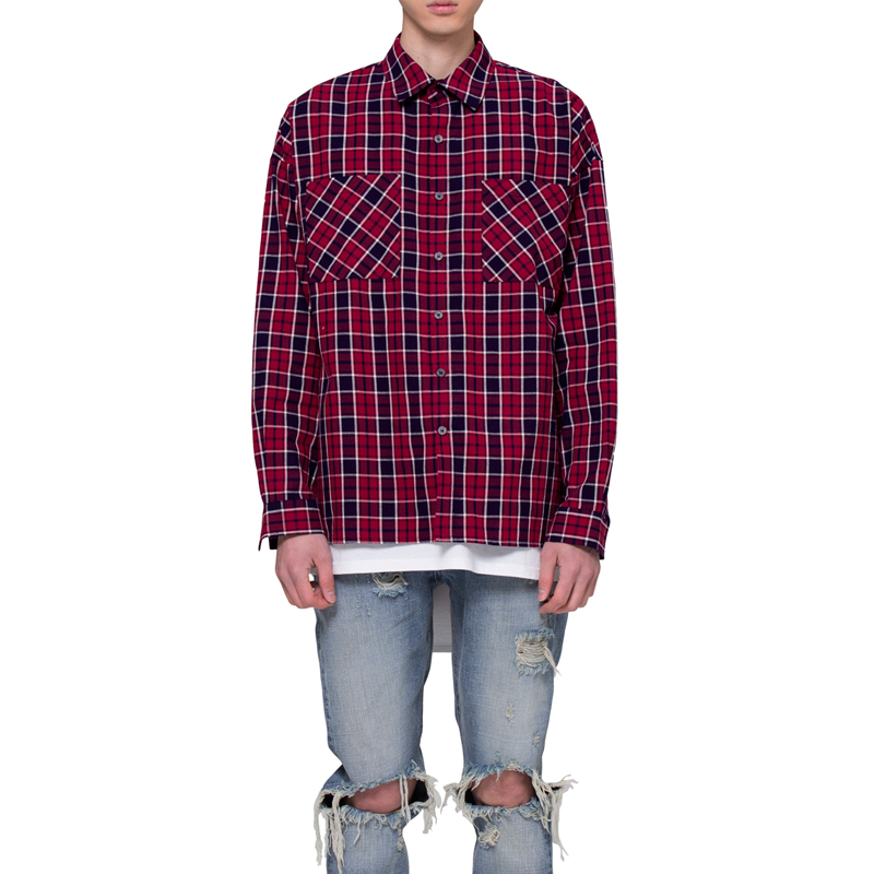 [RCNP] OVERSIZED FLANNEL SHIRTS (NAVY/RED)