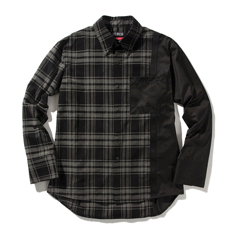 [ANTIMATTER] CHECK COLORATION SHIRT (BLACK)