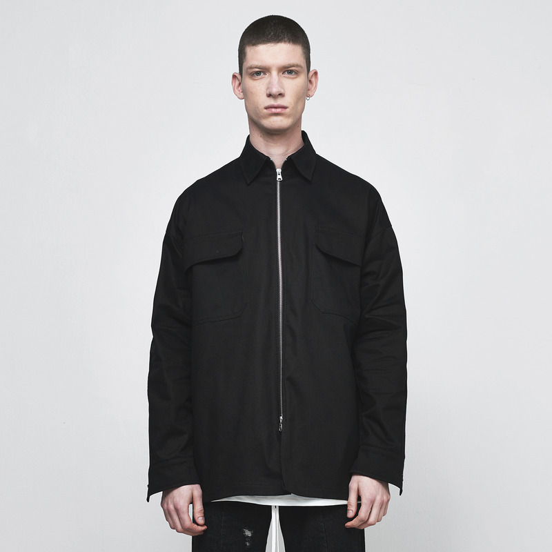 [D.PRIQUE] OVERSIZED ZIP SHIRT / BLACK