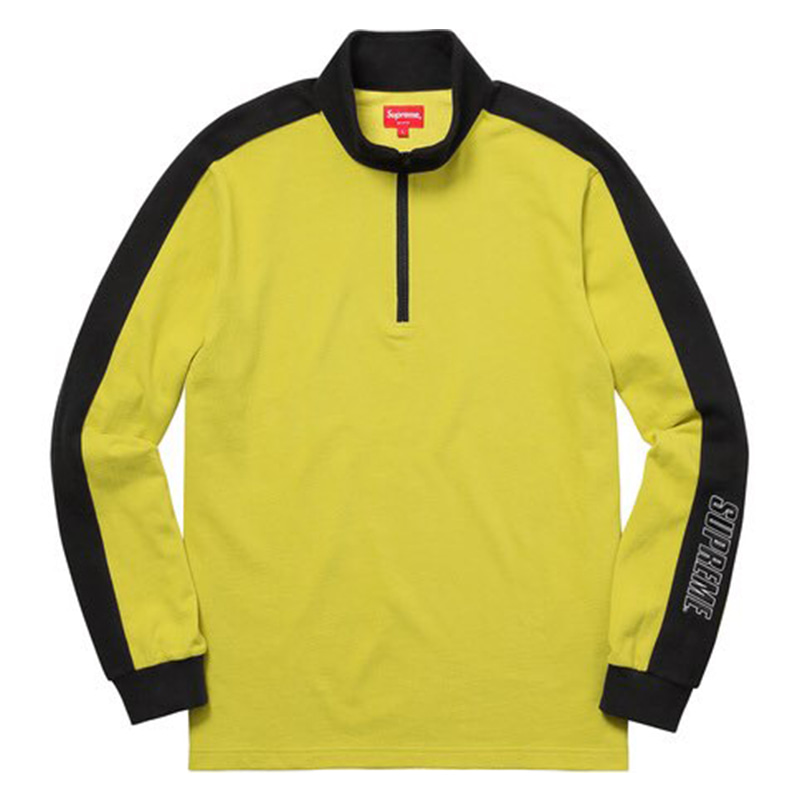 [SUPREME] SLEEVE STRIPE L/S HALF ZIP TOP (YELLOW)