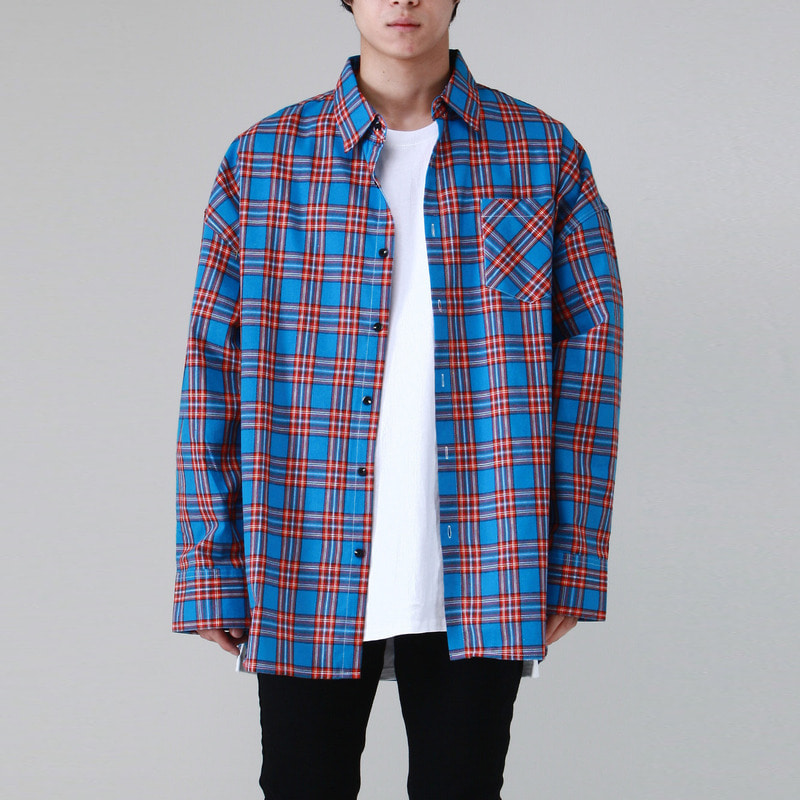 [TAKEASY] FLANNELETTE OVER SHIRTS (BLUE)