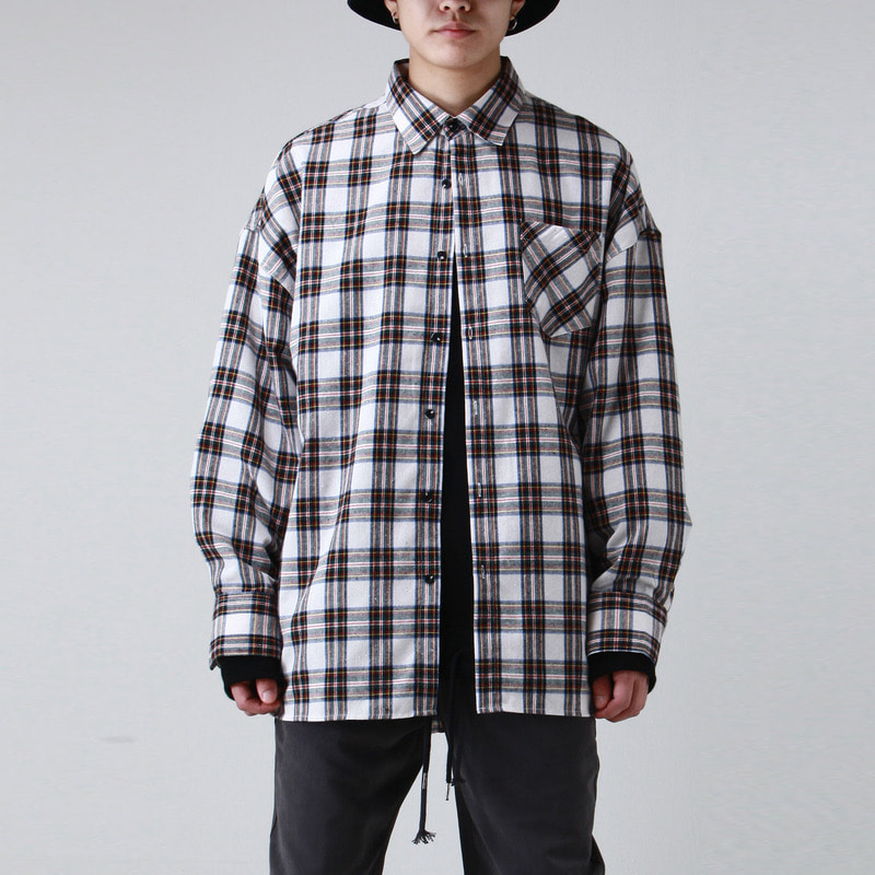 [TAKEASY] FLANNELETTE OVER SHIRTS (WHITE)