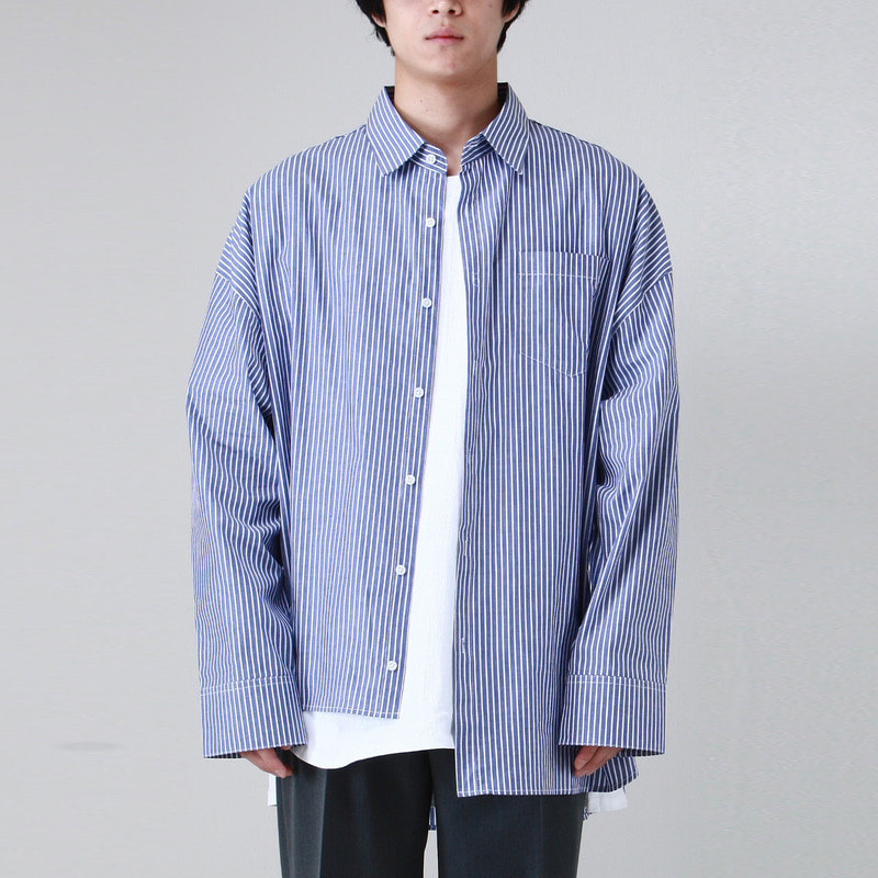 [TAKEASY] UNBALANCED STRIPE OVER SHIRTS (BLUE)