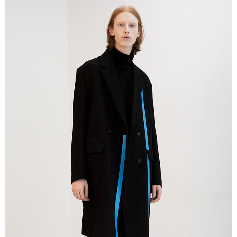 [IDIOTS] LINE DOUBLE WOOL COAT BLACK