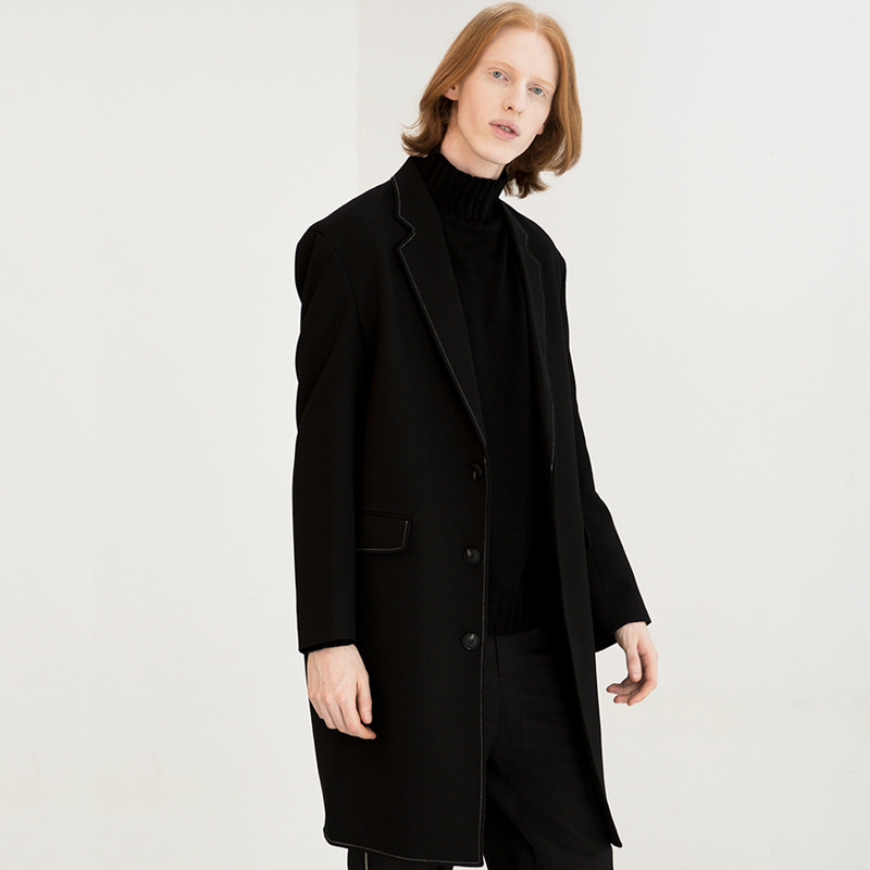 [IDIOTS] STITCH SINGLE WOOL COAT