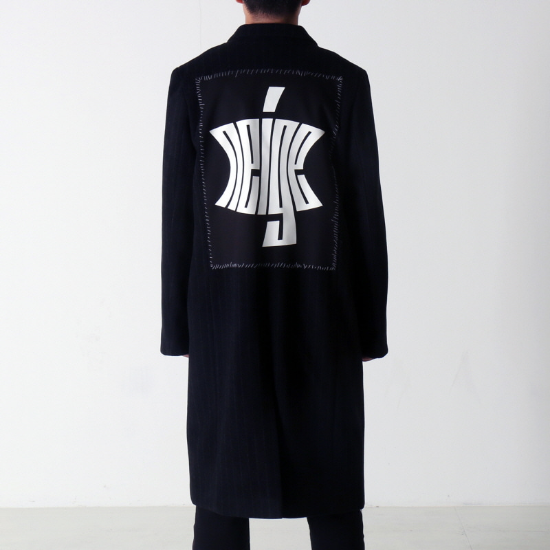 STRIPED PATCH WOOL COAT (BLACK)