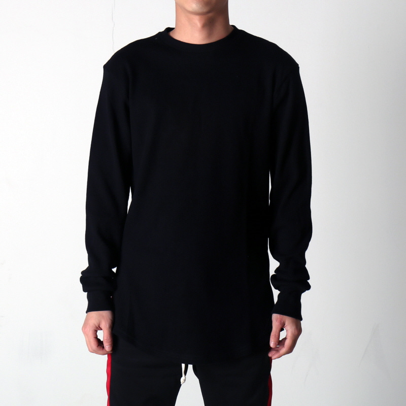 [$ SHOP SALE] [EPTM] SIDE ZIP THERMAL LONG TEE (BLACK)
