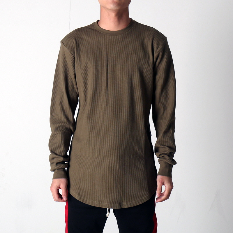 SIDE ZIP THERMAL LONG TEE (OLIVE)