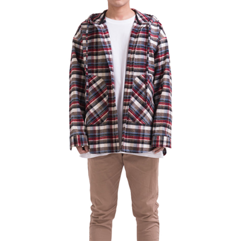 [RCNP] FLANNEL HOODIE SHIRT (WHITE)