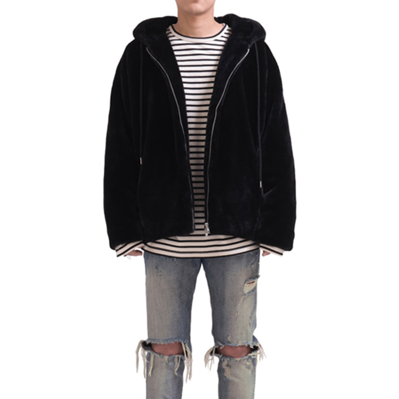 [RCNP] FAKE FUR HOODIE JACKET (BLACK)