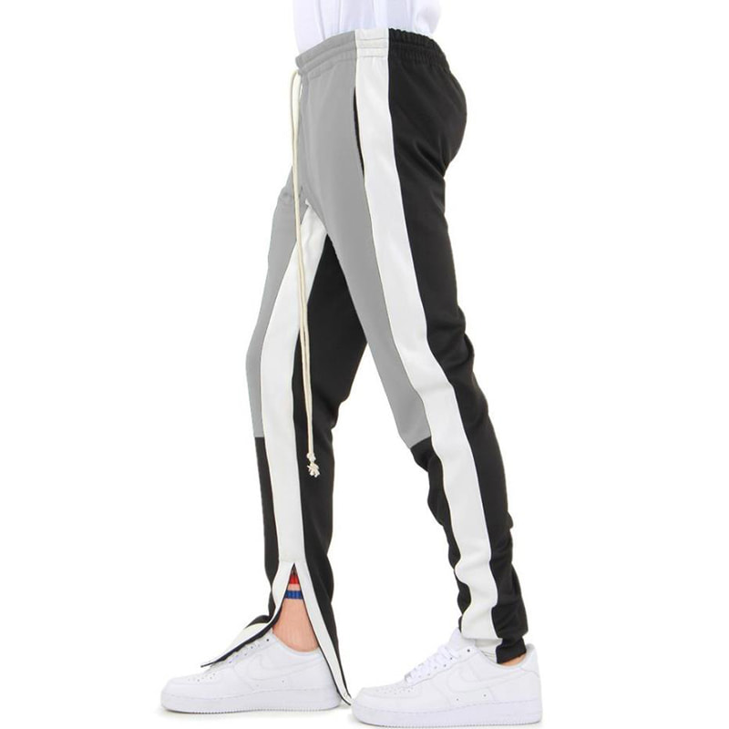 COLOR BLOCK TRACK PANTS (GREY/WHITE/BLACK)