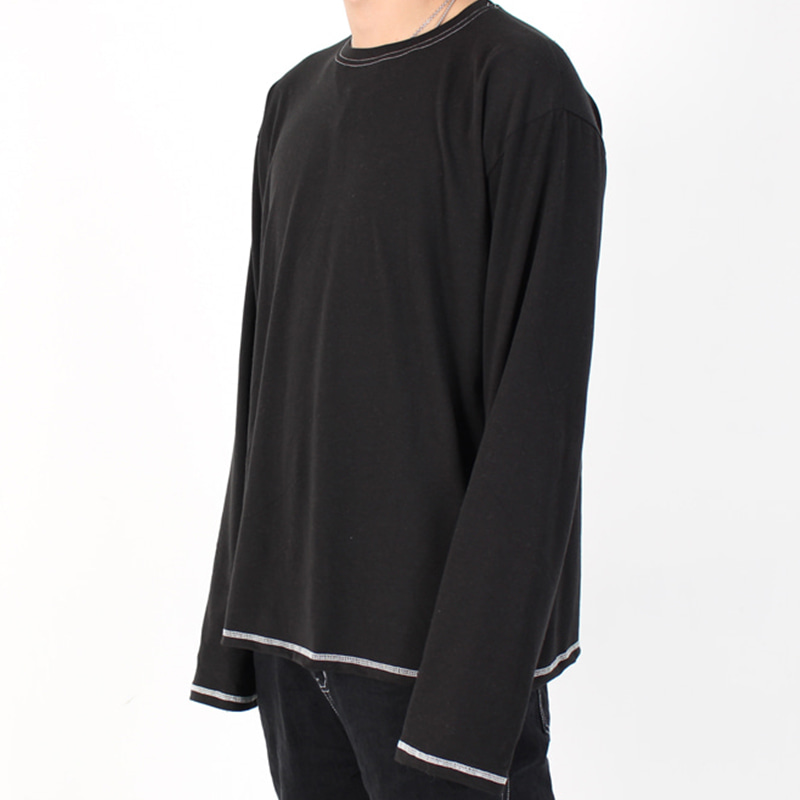 [BURJ SURTR] STITCH LONG T-SHIRT (BLACK)