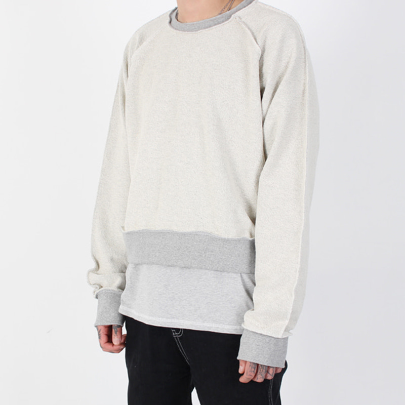[BURJ SURTR] STITCH CROP CREW NECK (GRAY)