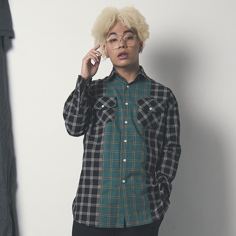 [WANTON] TWO TONE SHIRTS BLACK/GREEN