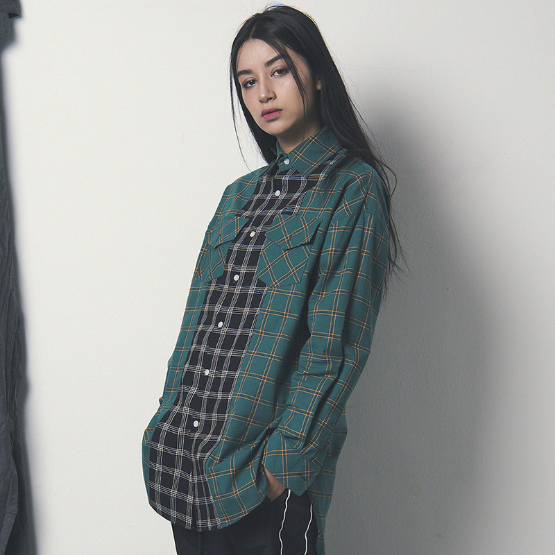 [WANTON] TWO TONE SHIRTS GREEN/BLACK