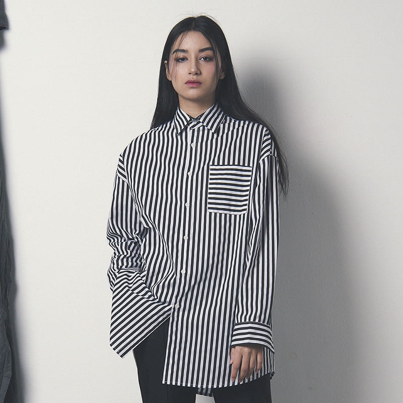 [WANTON] BASIC STRIPE SHIRTS BLACK