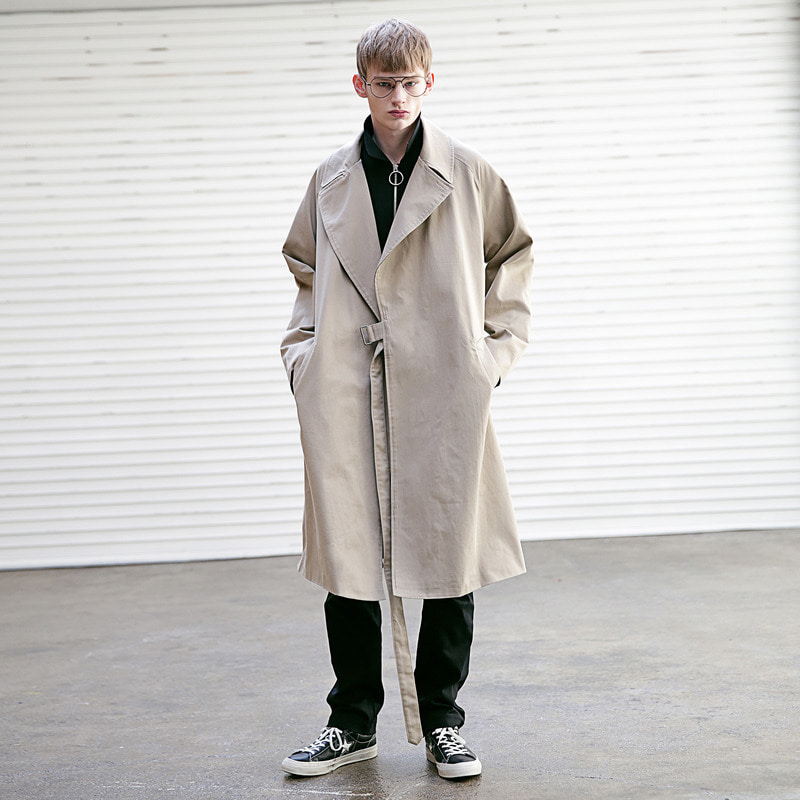 [MASSNOUN] D OVERSIZED RAGLAN TRENCH COAT MSECT001-BG