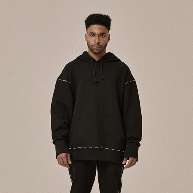 [OVERR] 18SS LOGO TAPING BLACK HOODIE