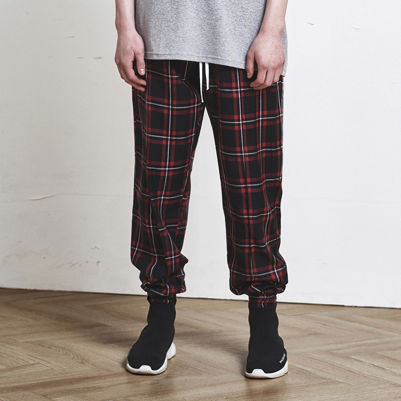 [SUMMER SALE 20% OFF] [DPRIQUE]  CHECK JOGGER PANTS (RED)