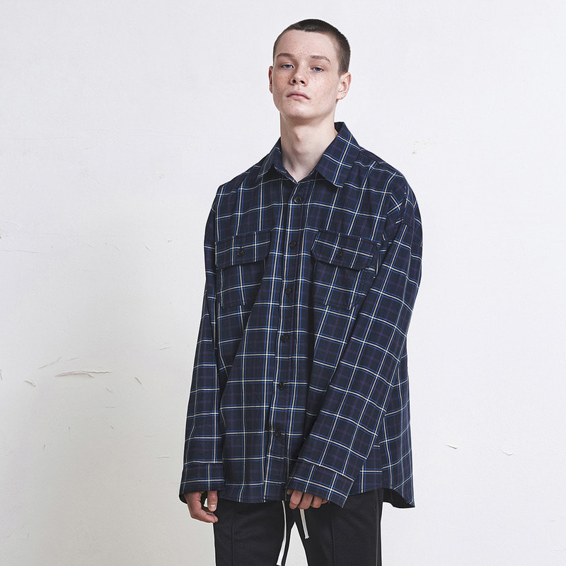 [SUMMER SALE 20% OFF] [DPRIQUE] OVERSIZED CHECK SHIRT (NAVY)