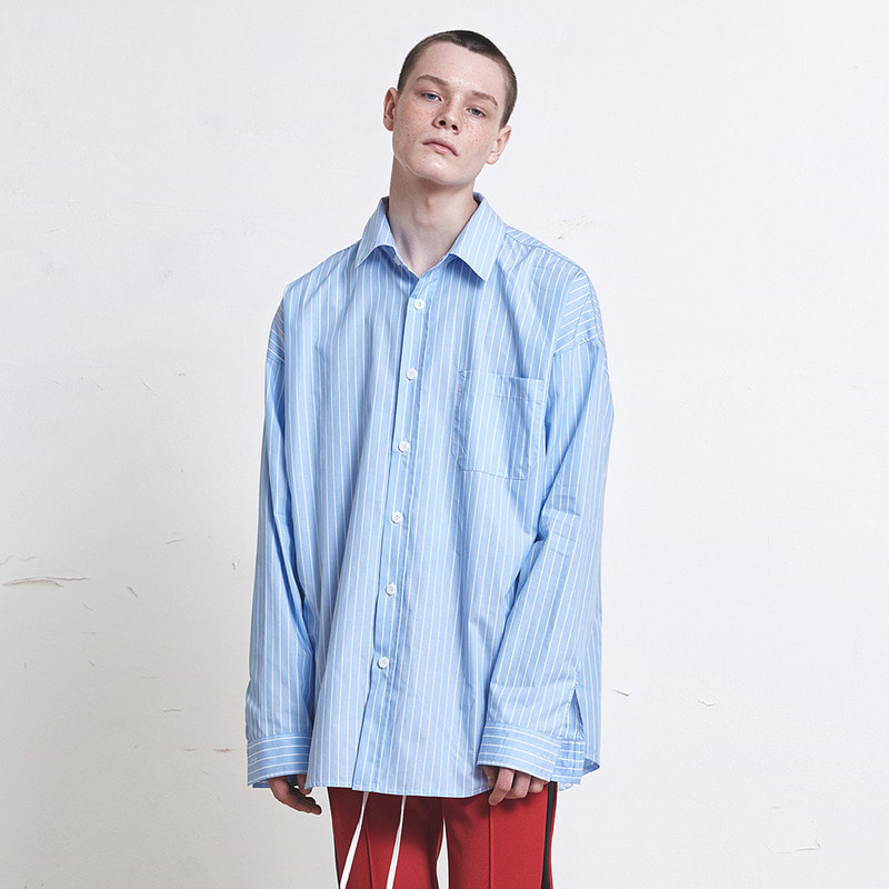 [SUMMER SALE 20% OFF]  [DPRIQUE] OVERSIZED STRIPE SHIRT (BLUE/WHITE)