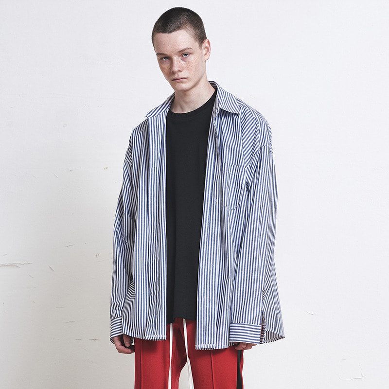 [SUMMER SALE 20% OFF]  [DPRIQUE] OVERSIZED STRIPE SHIRT (NAVY/WHITE) [D18SO011]