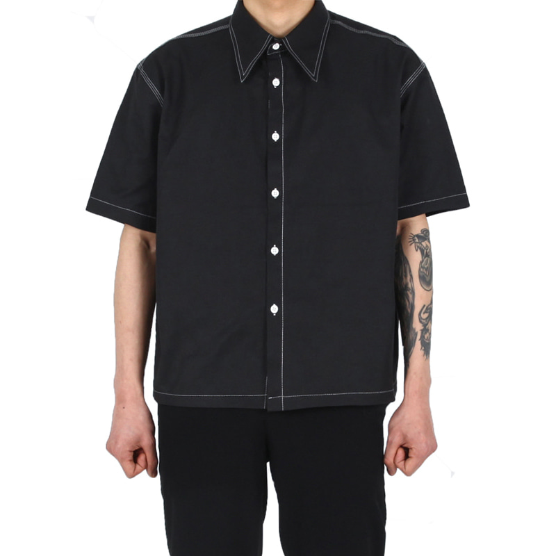 [XSACKY] BIG CARA STITCH SHIRT (BLACK)