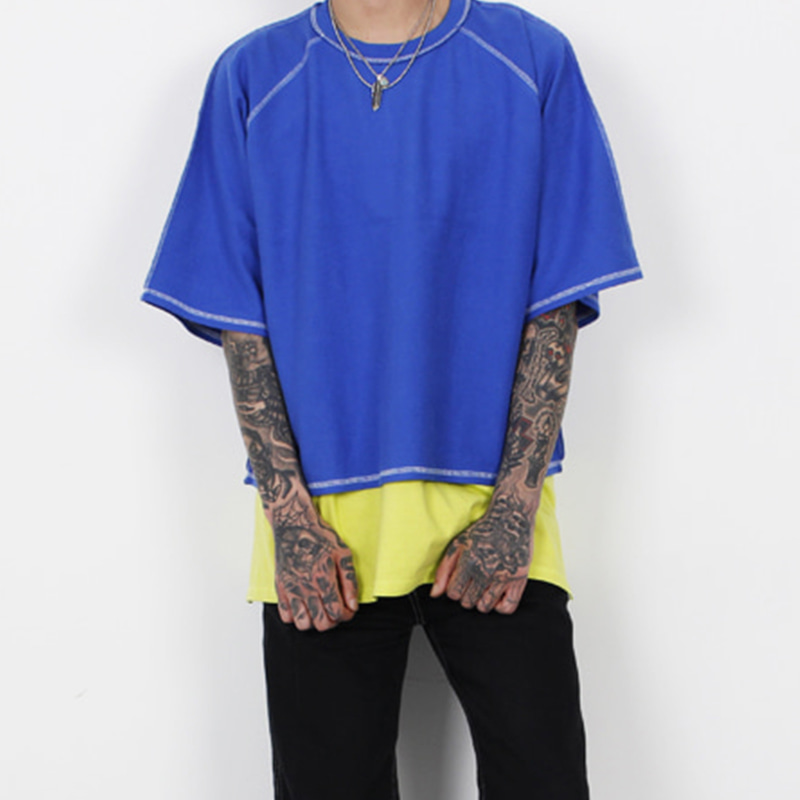[BURJ SURTR] STITCH CROP 1/2 T-SHIRT (BLUE)