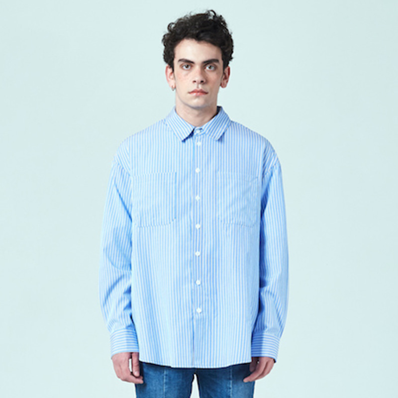 [DEADEND] BLUE STRIPE QUOTE SHIRTS