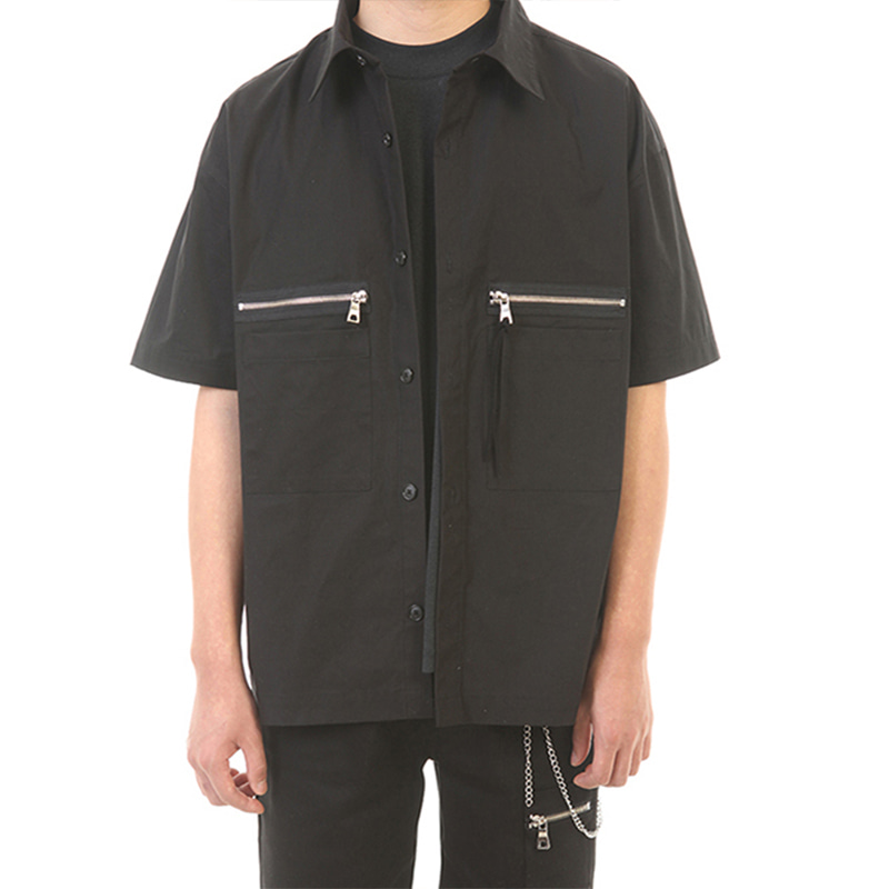 [SUMMER SALE 20% OFF] [LANG VERSIO] ZIPPER POCKET 1/2 SHIRT (BLACK)