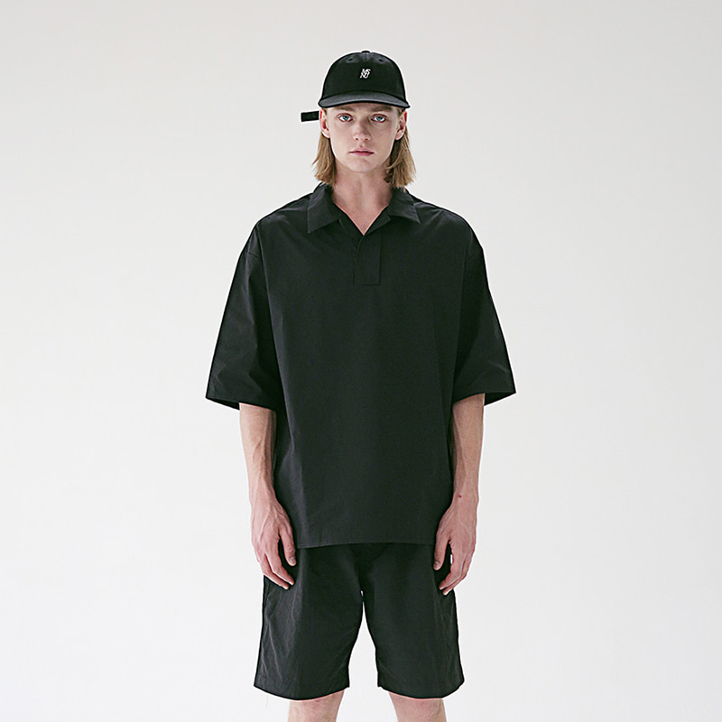 [MASSNOUN] HALF NECK SUBJECT SHORT SHIRTS MSEST005-BK