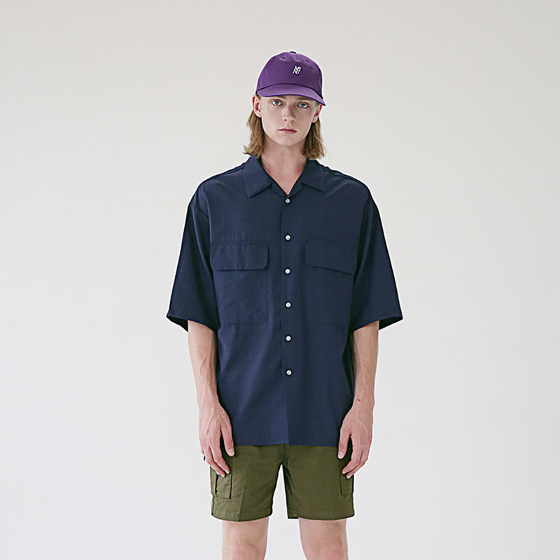[MASSNOUN] TWO POCKET SOFT OVERSIZED SHIRTS MSEST006-NV