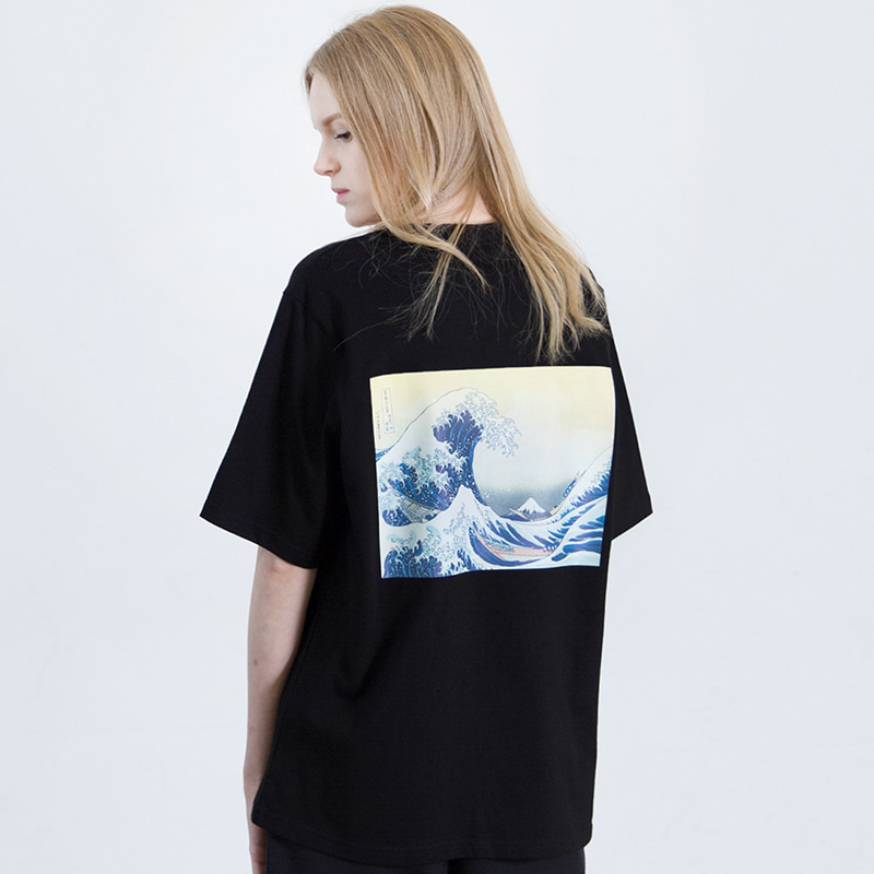 [SUMMER SALE 20% OFF] [WHOLOVESART] UNISEX WAVE SHORT T-SHIRT (BLACK)