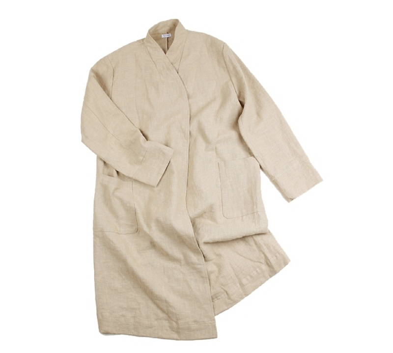 [18 HOUR] 20# HEAVY  LINEN  A-LINE COAT (BEIGE)