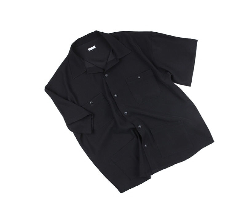 [18 HOUR] 34# RAYON OPEN COLLAR SHIRT(BLACK)