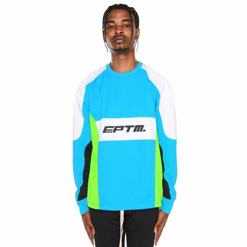 [EPTM] MOTOCROSS COLOR BLOCK LONG SLEEVES TEE (TURQUIOS)