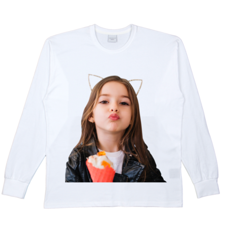 [ACME DE LA VIE] ADLV BABY FACE LONG SLEEVE T-SHIRT WHITE 베이비 페이스 긴팔 키스 화이트