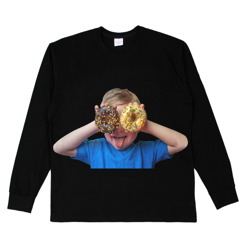 [ACME DE LA VIE] ADLV BABY FACE LONG SLEEVE T-SHIRT BLACK 베이비 페이스 긴팔 도너츠2 블랙