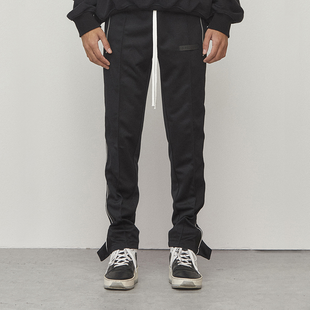 TRACK ZIPPER PANTS (BLACK)