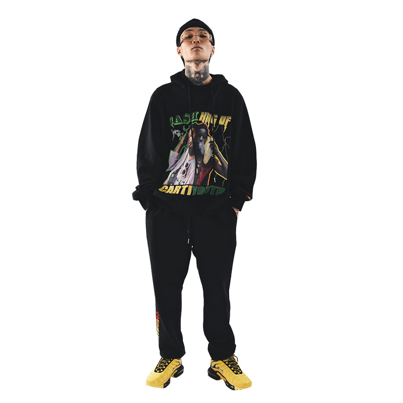IAN CARTI PULLOVER HOOD AND SWEAT PANTS (BLACK)